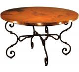 Mexican Copper Inlaid 42 Round Monica Dining Table