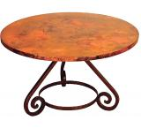 Mexican Copper Inlaid 42 Round Azteca Dining Table