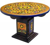 Mexican Rustic Round Sunflower Dining Carved Table
