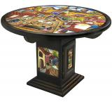 Mexican Rustic Round Pueblo Dining Carved Table