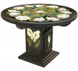 Mexican Rustic Round Calla Lily Dining Carved Table