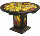 Mexican Rustic Round Fruit Dining Carved Table