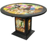 Mexican Rustic Round Day of the Dead Dining Carved Table
