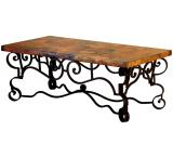 Mexican Copper Inlaid Libby Coffee Table