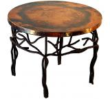 Mexican Copper Inlaid Twig Coffee Table
