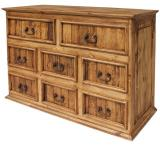 Eight-Drawer Mexican Rustic Pine Dresser
