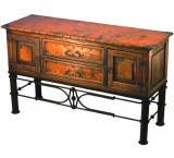 Mexican Copper Inlaid Francisco Console Table