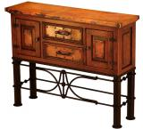 Mexican Copper Inlaid Small Francisco Console Table