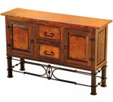 Mexican Copper Inlaid 2-Door / 2-Drawer Pablo Console Table