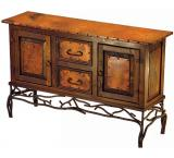 Mexican Copper Inlaid 2-Door / 2-Drawer Twig Console Table