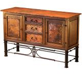 Mexican Copper Inlaid 2-Door / 3-Drawer Pablo Console Table