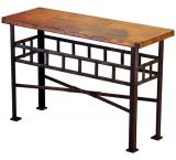 Mexican Copper Inlaid Remaches Console Table
