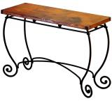 Mexican Copper Inlaid Bola Console Table