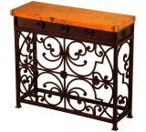 Mexican Copper Inlaid Small Gate Console Table