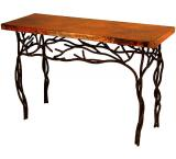 Mexican Copper Inlaid Twig Console Table