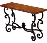 Mexican Copper Inlaid Forged Fountain Console Table