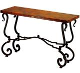 Mexican Copper Inlaid Tuscany Console Table