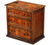 Mexican Copper Inlaid 3-Drawer Small Dresser