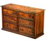 Mexican Copper Inlaid 6-Drawer Low Boy Dresser