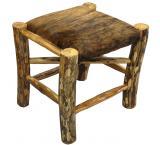 Rustic Log Foot Stool w/ Brindle Hide