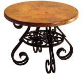 Mexican Copper Inlaid Round Esperanza End Table