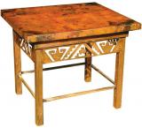 Mexican Copper Inlaid Petroglyph End Table