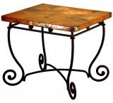 Mexican Copper Inlaid Bola End Table