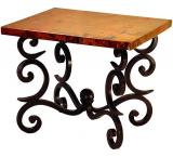 Mexican Copper Inlaid Forged Fountain End Table