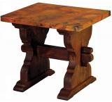 Mexican Copper Inlaid Trestle End Table
