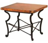 Mexican Copper Inlaid Truss End Table