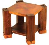 Mexican Copper Inlaid Phoenix End Table