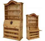 Mexican Rustic Pine Secretary with Shelves