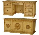 3 Star Texas Executive Mexican Rustic Pine Desk w/ Rope Top & Drawer
