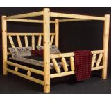 Rustic Pine Log Starburst Canopy Bed