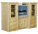 Rustic Pine Log Northwoods Wall Unit w/Glass Doors