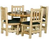 Rustic Pine Log Round Log Dining Room Table