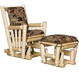 Rustic Pine Log Upholstered Log Glider & Ottoman