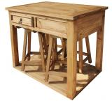 Mexican Rustic Pine Kitchen Island with Stools