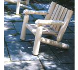 Cedar Log Outdoor Patio Low Back Arm Chair