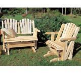 Adirondack Glider Love Seat Outdoor Patio Cedar Log Furniture