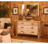 Rustic Aspen Log Silver Creek Six Drawer Dresser