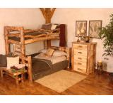 Rustic Aspen Log Summit Peak over Bunk Bed