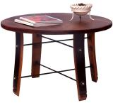 Rustic Oak Wood Round Stave Coffee Table