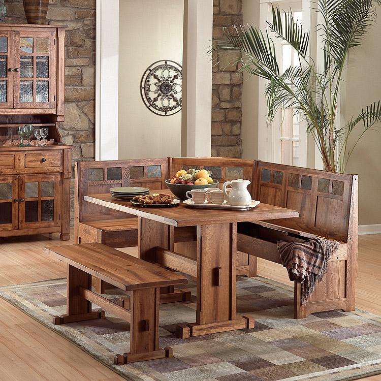 Rustic Furniture Rustic Oak Amp Slate Breakfast Nook Set