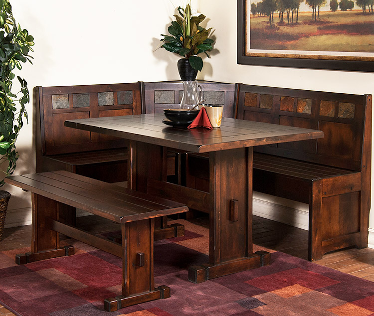 Rustic furniture rustic santa fe breakfast nook set with table side bench - Kitchen nook set ...