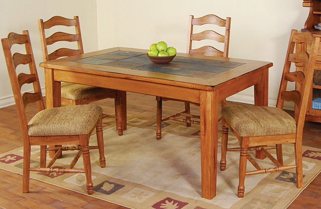 rustic furniture rustic oak slate top dining table