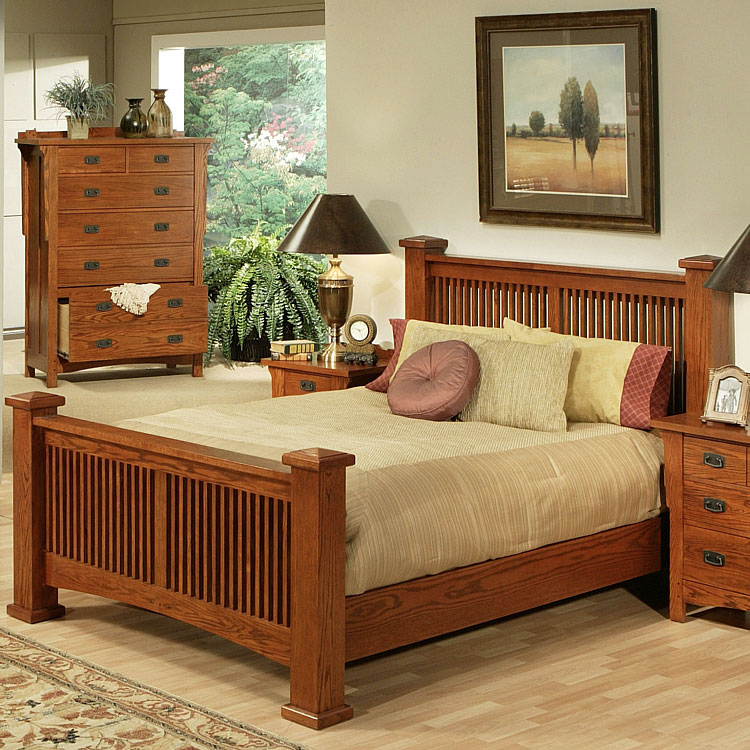 Rustic furniture rustic mission oak eastern king classic slat bed for Queen mission style bedroom set