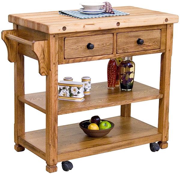 Rustic Furniture Rustic Oak Butcher Block Cart