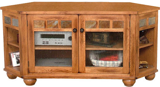 Rustic Furniture Rustic Oak Amp Slate 59 Quot Corner Tv Console