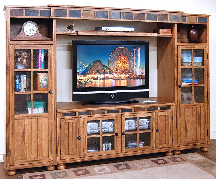 Rustic Furniture Rustic Oak Slate Complete Entertainment Wall